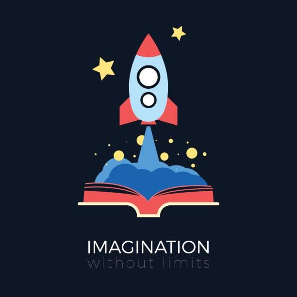 Imagination: space exploration vector art illustration