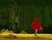 A tale in the woods about a girl with red hood and a wolf.