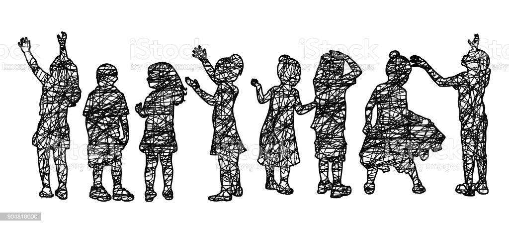 Imaginative Children Sketch vector art illustration