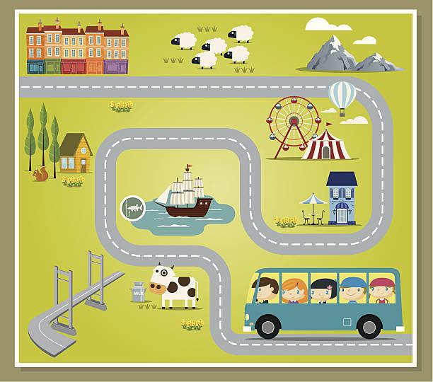 fantasievolle spielplatz - tour bus stock-grafiken, -clipart, -cartoons und -symbole