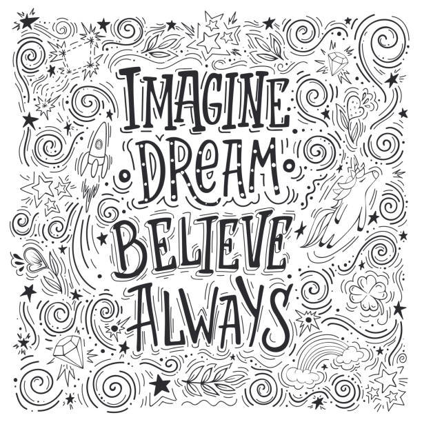 imagine dream believe always - unicorn line drawings stock illustrations, clip art, cartoons, & icons