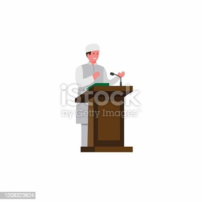 istock imam muslim standing giving speech in podium, religous prayer moslem icon in cartoon flat illustration vector isolated in white background 1208323824