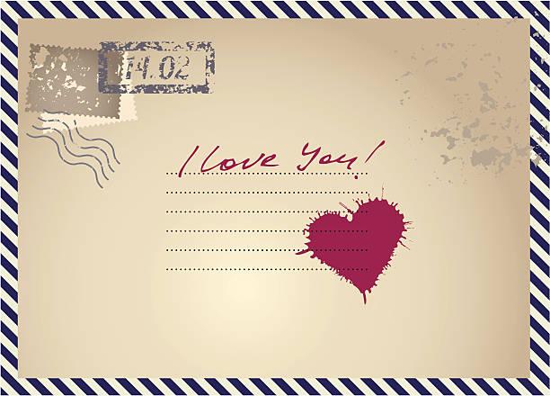 illustrazioni stock, clip art, cartoni animati e icone di tendenza di imitazione postcar con cuore - love word