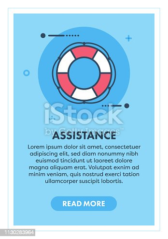 Immigration assistance web banner illustration with icon. Modern flat concept for website or infographics.