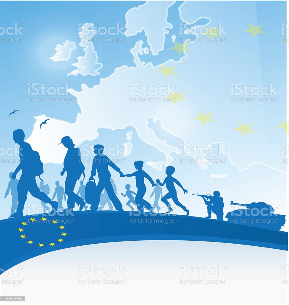 immigration background vector art illustration