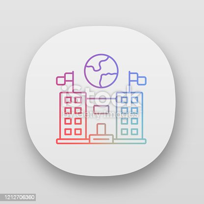 istock Immigration center app icon. Consulate building. Administrative structure. Earth globe over public building. UI/UX user interface. Web or mobile applications. Vector isolated illustrations 1212706360