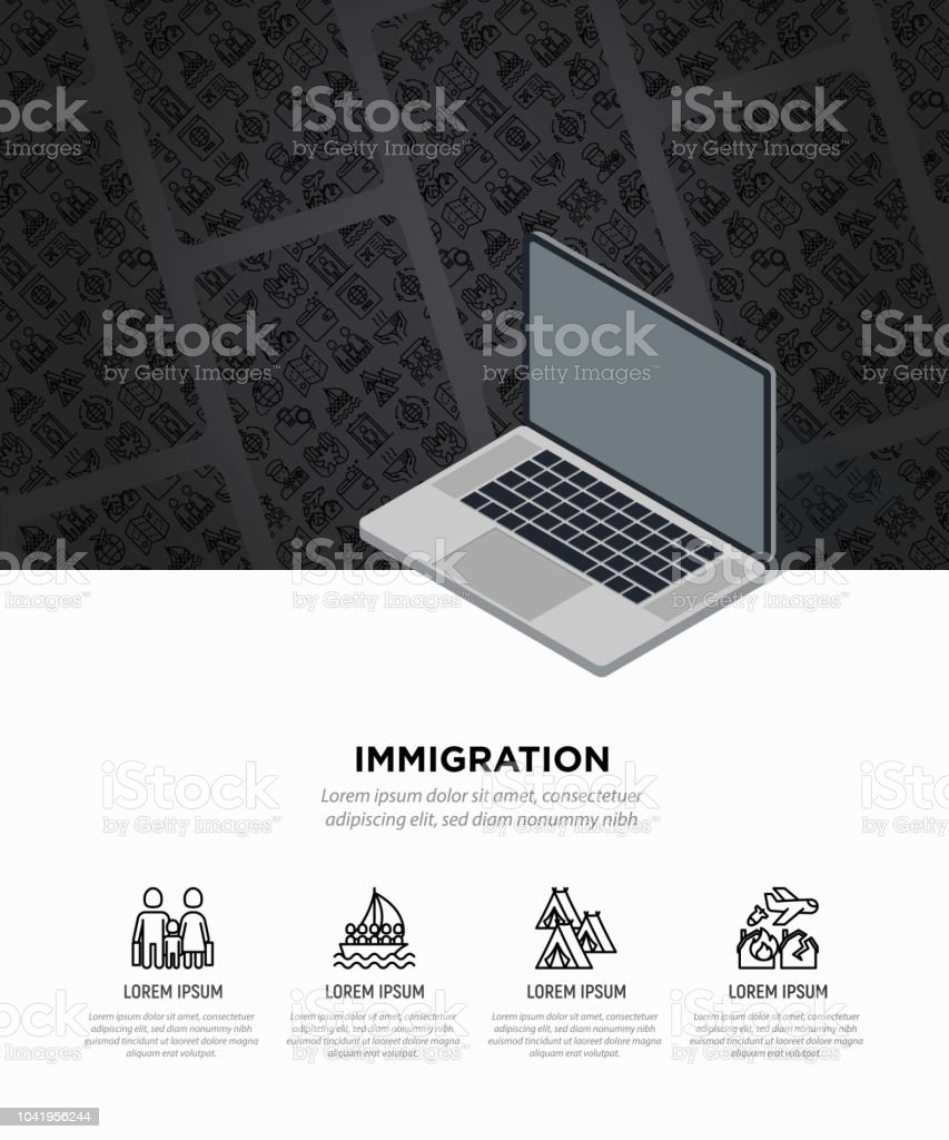 Immigration concept with thin line icons: immigrants, illegals, baggage examination, passport, international flights, customs. Vector illustration, web page template with opened laptop. vector art illustration