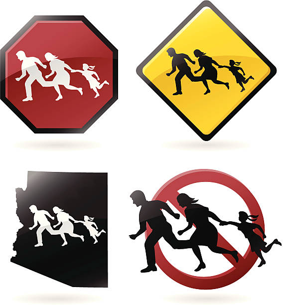 stockillustraties, clipart, cartoons en iconen met immigration debate icons - arizona highway signs
