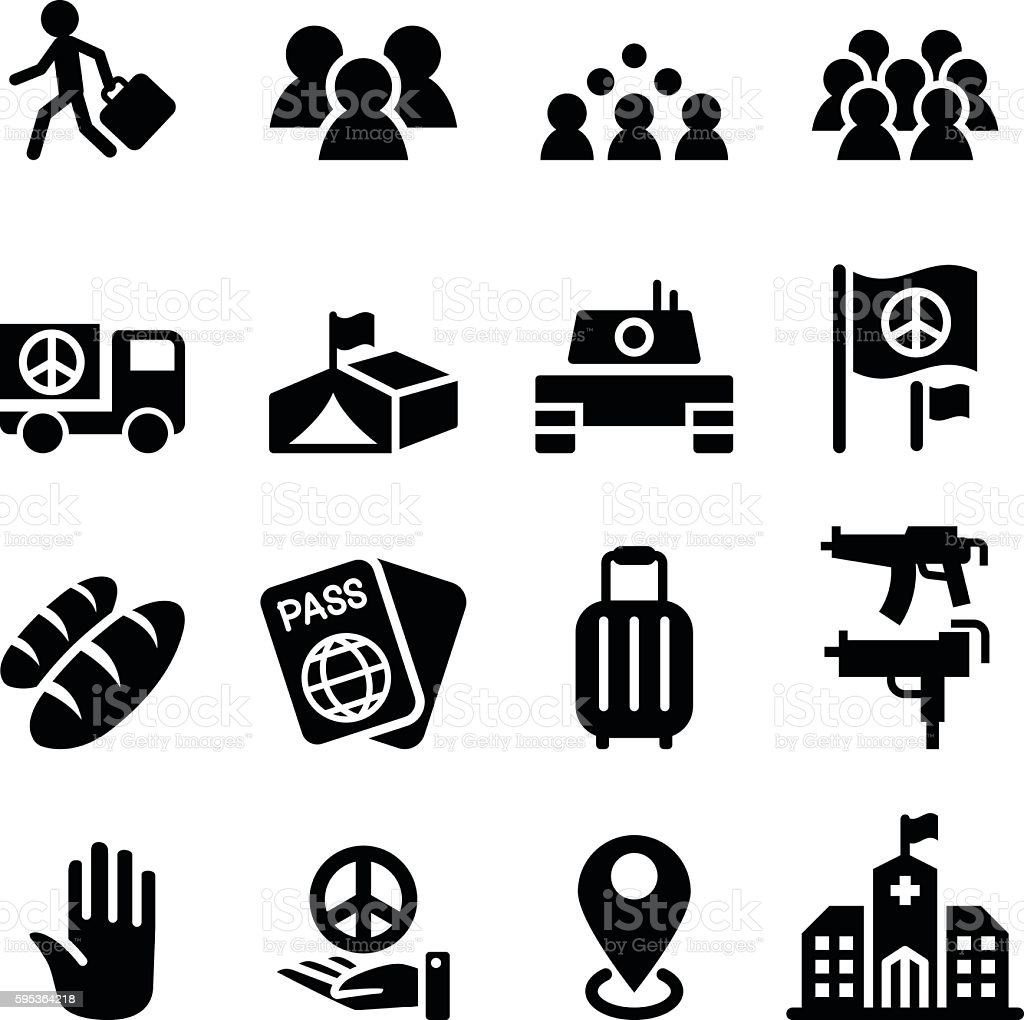immigration , immigrant , refugee icon set vector art illustration