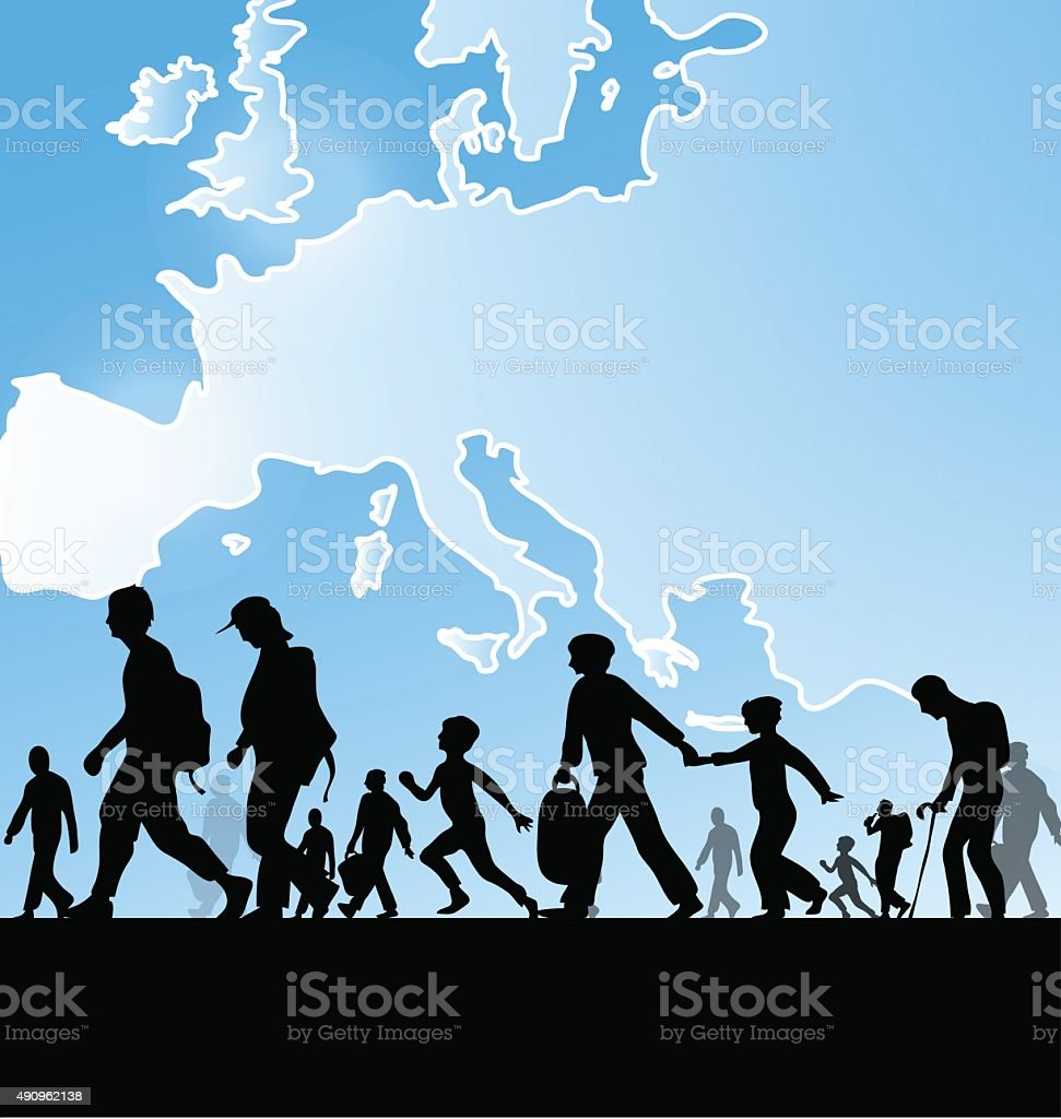 immigration people on europe map background vector art illustration