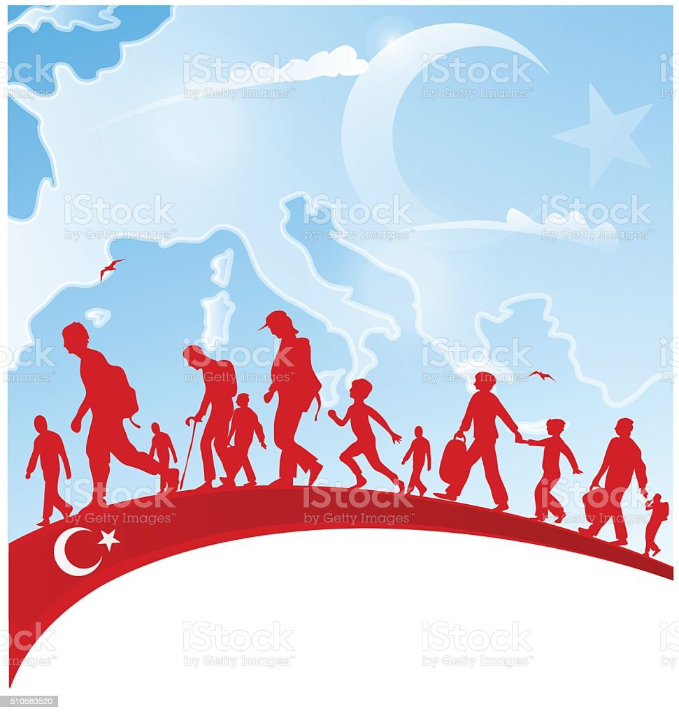 immigration people on turkey flag vector art illustration