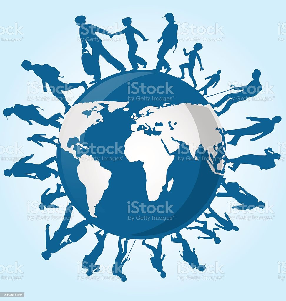 immigration people on world map background vector art illustration