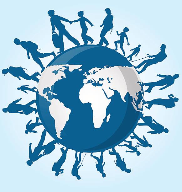 immigration people on world map background vector art illustration