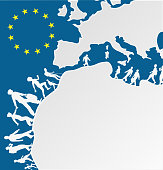 immigration people silhouette moving to europe