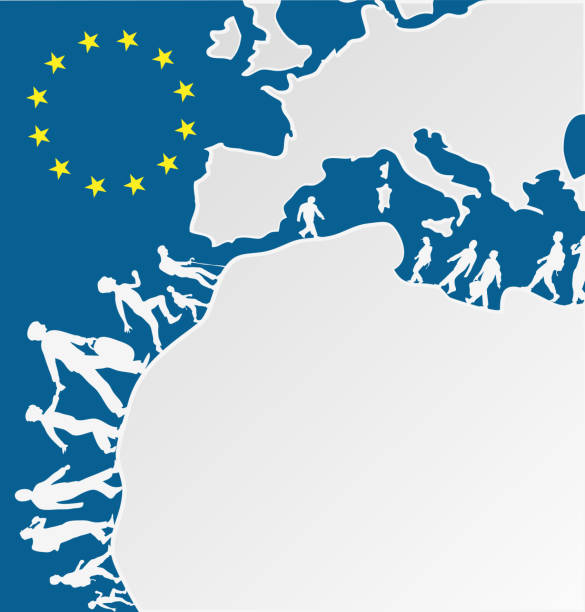 immigration people silhouette moving to europe vector art illustration