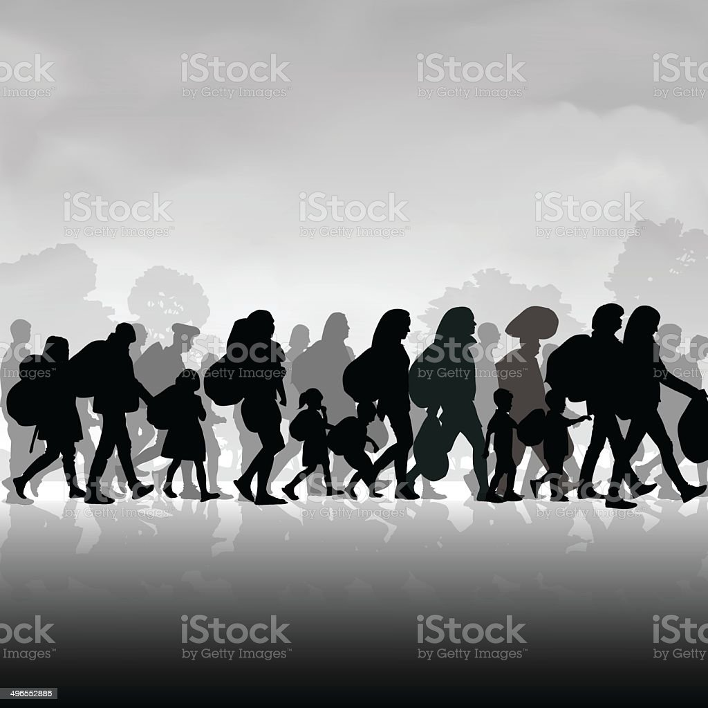 Immigration people vector art illustration