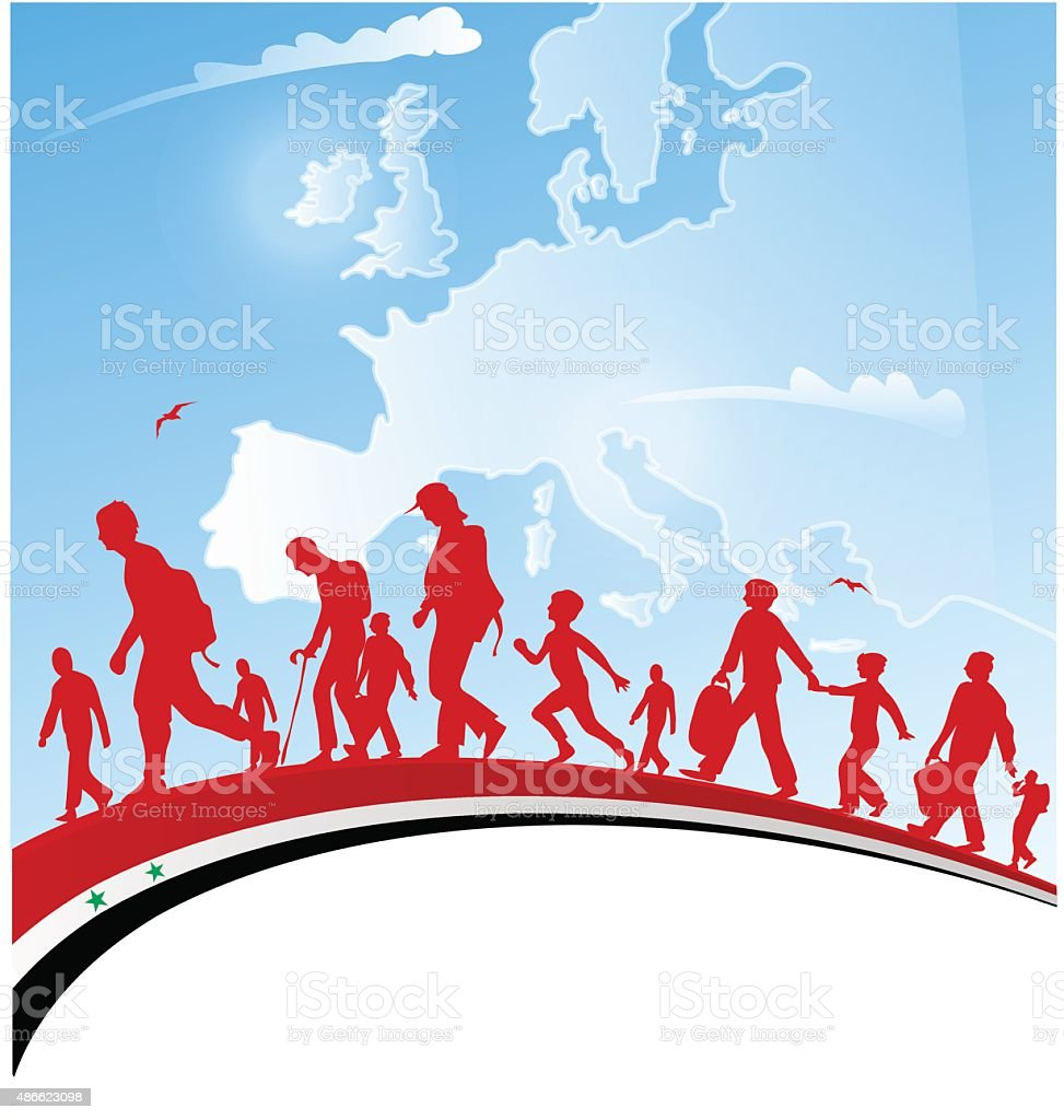 immigration people with syrian flag on background vector art illustration