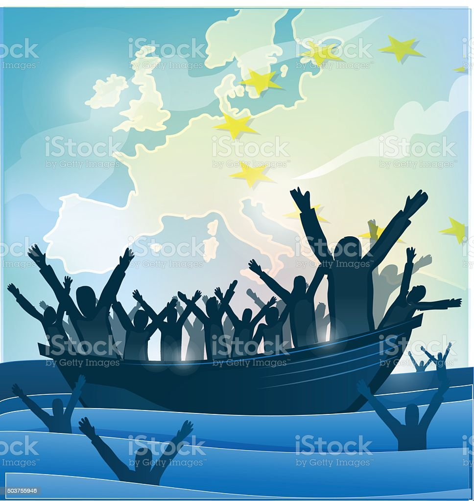 immigration people with  the boat on european map vector art illustration