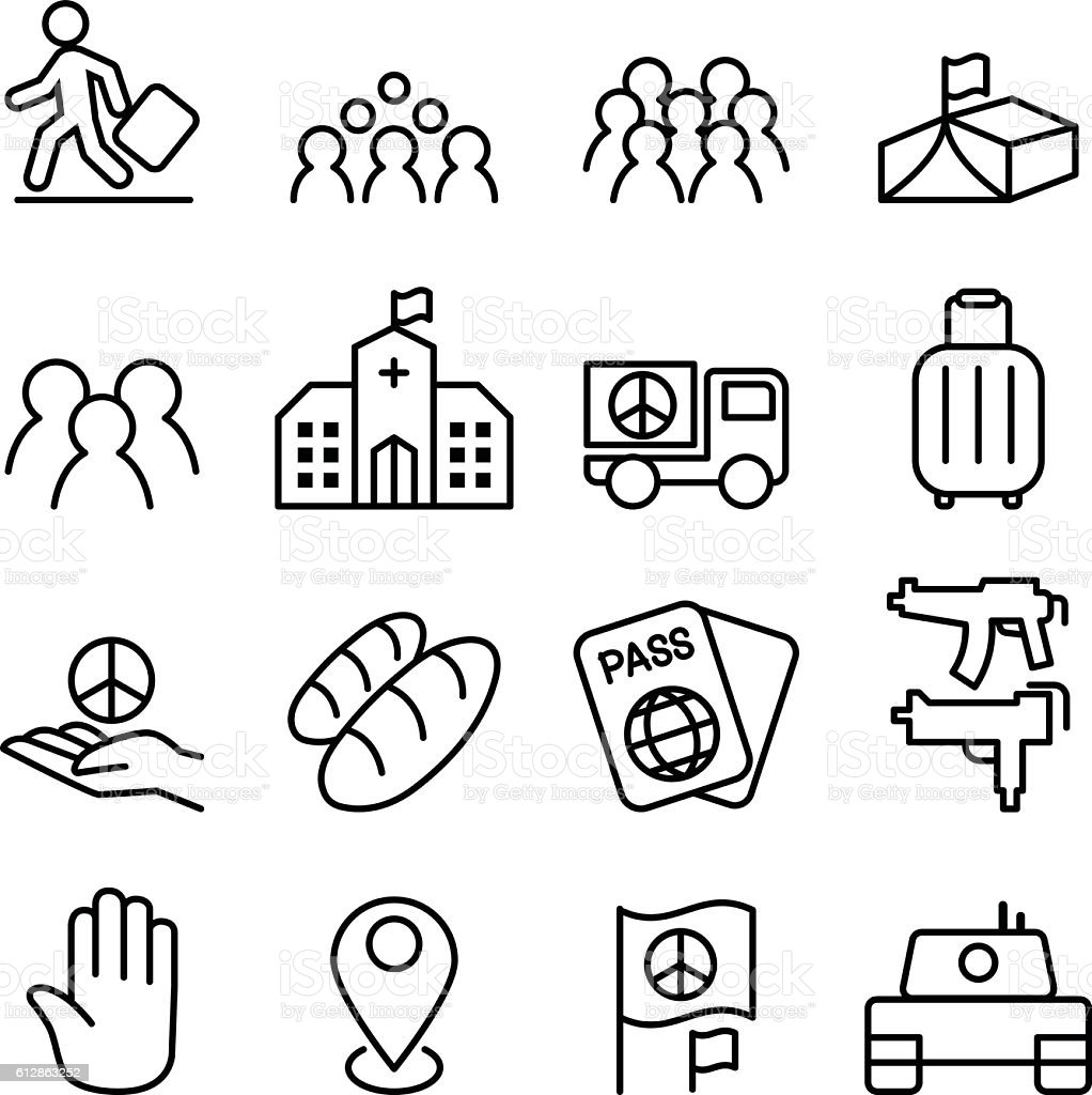 immigration & refugee icon set in thin line style vector art illustration