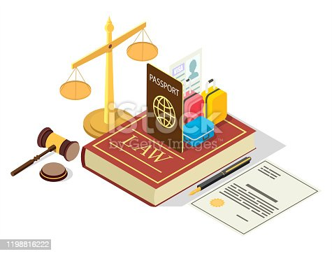 Immigration law vector concept illustration. Legal symbols Law book with passport, visa, suitcases, scales of justice, judge gavel, agreement. Isometric composition for web banner, website page, etc.