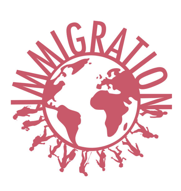Immigration word concept around the world with people walking vector art illustration