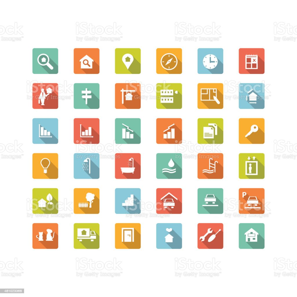 Immobilien Suche 36 Symbole – Vektorgrafik