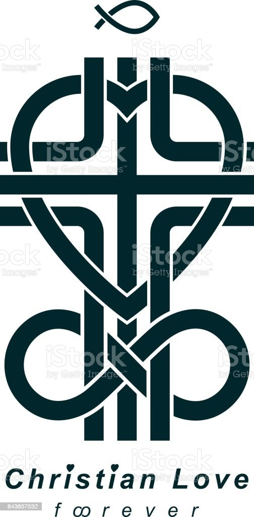 Immortal God Christian Love Conceptual Icon Design Combined With