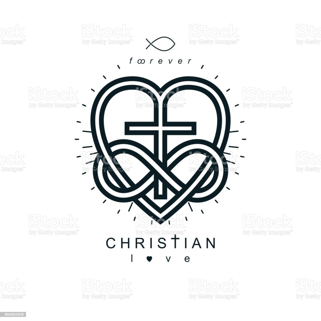 Immortal love of god conceptual symbol combined with infinity loop immortal love of god conceptual symbol combined with infinity loop sign and christian cross with heart buycottarizona Gallery