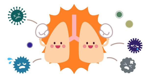 免疫肺の性格とウイルス ベクターアートイラスト