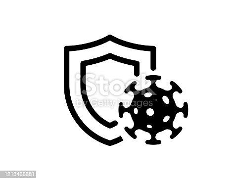 istock Immune system concept. Hygienic medical black shield protecting from coronavirus COVID-19 icon. Human immunity sign. Corona virus defense symbol vector illustration 1213466681