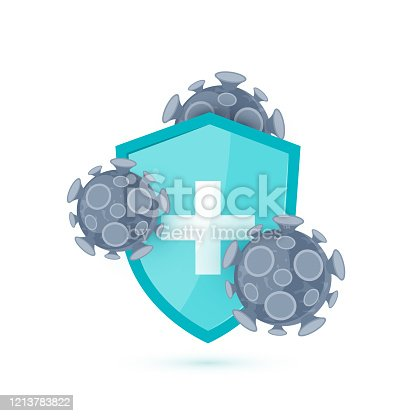 Immune shield icon. Concept with a medical shield and viruses. Vector illustration isolated on a white background in cartoon style.