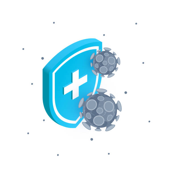 Immune system icon in flat style, vector Isometric bacteria and immune shield. Medical anti virus concept. Vector illustration isolated on a white background. antiviral drug stock illustrations