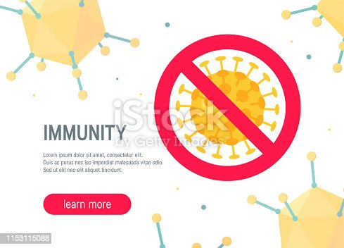 Immunity concept. Isometric illustration on white background, vector. Horizontal template for web banners, advertising etc.