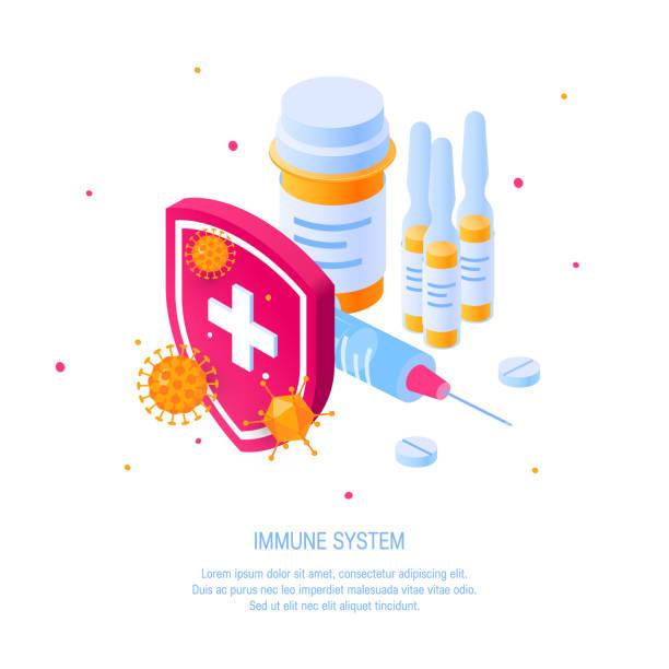 아이소메트릭 뷰의 면역 체계 벡터 개념 - 앰풀 stock illustrations