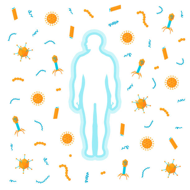 Immune system vector concept Immune system concept. Man surrounded by bacteria and viruses immune system stock illustrations