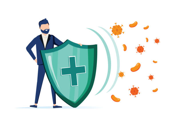 illustrazioni stock, clip art, cartoni animati e icone di tendenza di immune system vector icon logo. health bacteria virus protection. medical prevention human germ. man reflect bacteria - virus protection