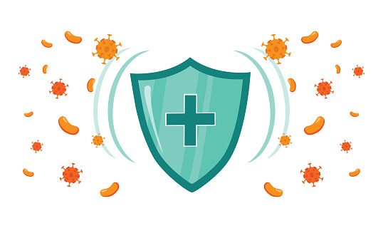 Immune system vector icon logo. Health bacteria virus protection. Medical prevention human germ. Healthy shield