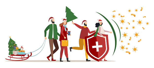Immune system vector logo icon. Protection against bacteria, health viruses. Healthy men and women stand behind a shield and a shield on Christmas and New Year's celebrations to ward off the attack of bacteria.