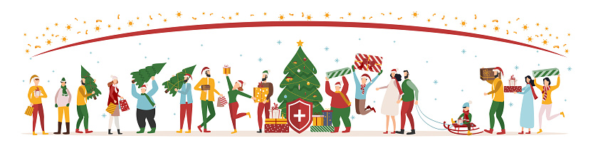 Immune system vector logo icon. Protection against bacteria, health viruses. Healthy men and women with gifts stand behind the shield during the Christmas and New Year celebrations to ward off the bacteria attack.