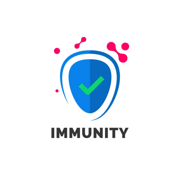 Immunity logo template for vector immune medicine or protection shield icon for pharmaceutical laboratory design Immunity logo template for vector immune medicine or protection shield icon for pharmaceutical laboratory design immune system stock illustrations