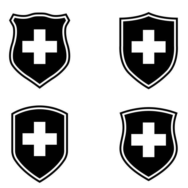 Immunity protection, shield with cross icon on white background Immunity protection, shield with cross icon on white background immune system stock illustrations