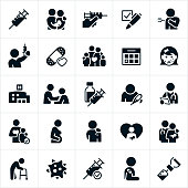 A set of immunization icons. The icons include immunizations, vaccinations, syringes, shot needles, babies, children, adults, elderly, flu shot, doctor, nurse, some one getting a shot, a family, bandage, calendar, measles, shingles, diseases, chicken pox, influenza, hospital, someone with the flue, pregnant woman, virus and other related icons.