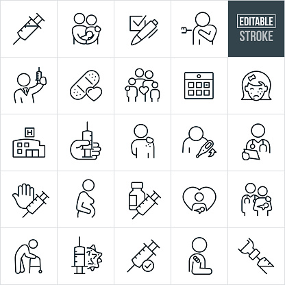 Immunization Thin Line Icons - Editable Stroke
