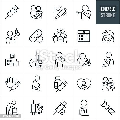 A set of immunization icons that include editable strokes or outlines using the EPS vector file. The icons include a syringe, couple holding newborn, check list, person getting a flu shot, doctor holding a syringe, bandage, family, calendar appointment, girl with chickenpox, hospital, hand holding syringe, person with virus, person with fever, doctor reviewing notes, pregnant woman, syringe and vial, new mother with baby, senior with walker, virus and shot needle, child with bandage after immunization and other related icons.
