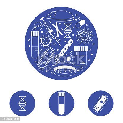 Immunology research icons in a circle for scientific presentation template. Stock vector illustration of DNA, virus, bacteria, mouse, blood , syringe, antibody and human cell.