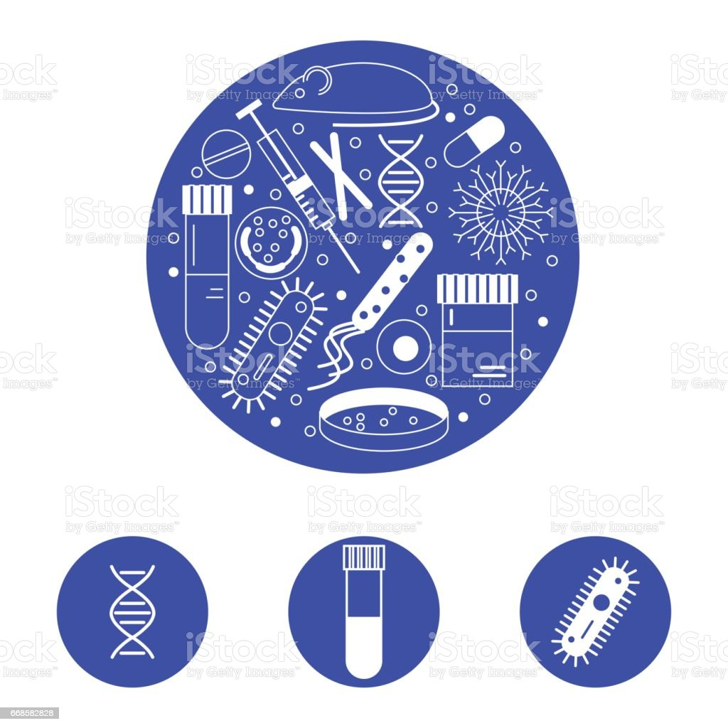 immunology research icons vector art illustration
