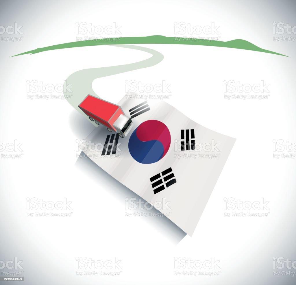 導入和匯出在韓國 免版稅 導入和匯出在韓國 向量插圖及更多 交換 圖片