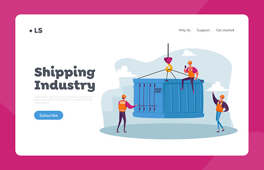Import Export Maritime Logistics Landing Page Template. Foremen Characters in Seaport Loading Heavy Container Box