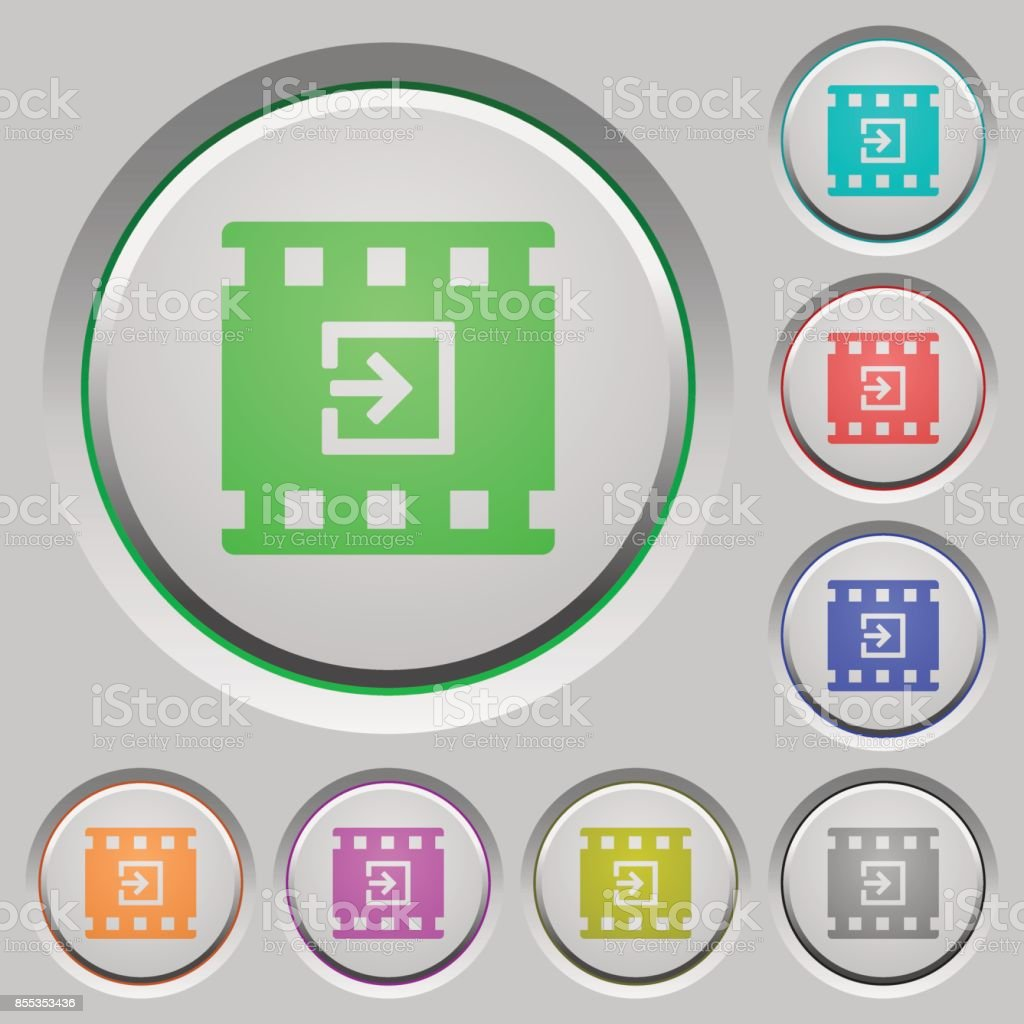 Import movie push buttons vector art illustration