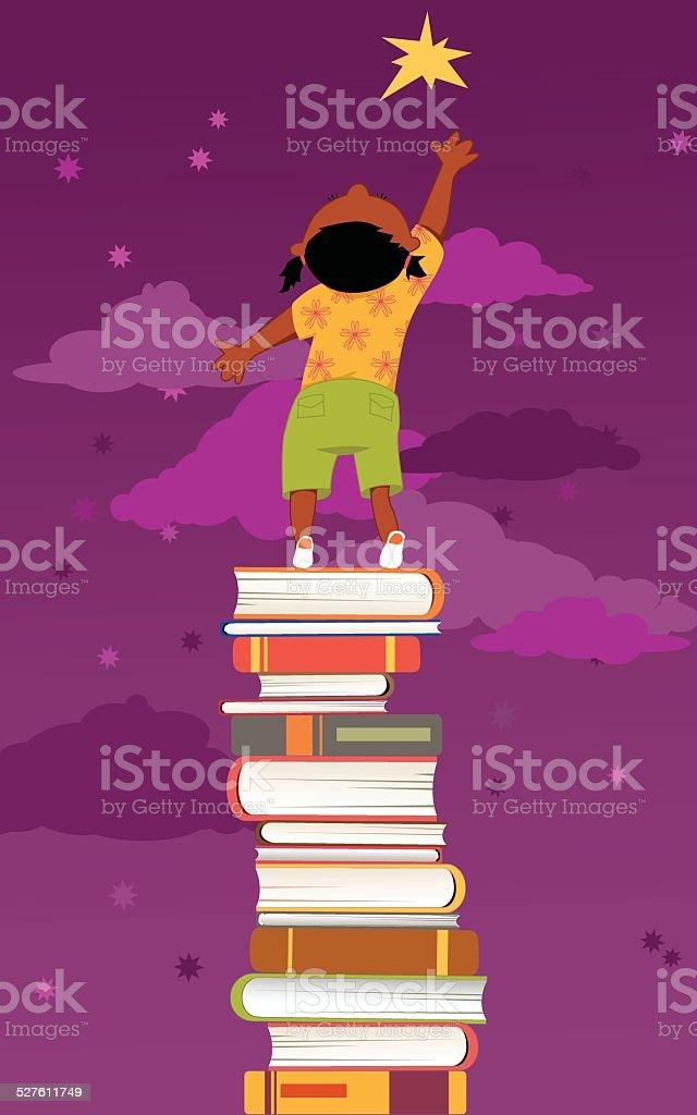 Importance of reading for children development vector art illustration